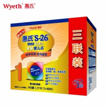 惠氏S-26金装爱儿乐婴儿配方奶粉(优享三联装)1.2kg