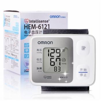 欧姆龙电子血压计HEM-6121全自动家用手腕式血压测量仪器