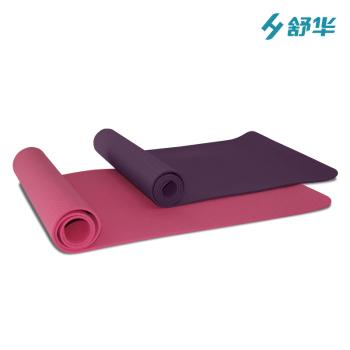 舒华 瑜伽垫加厚加宽健身垫防滑瑜珈垫运动毯子仰卧起坐垫 SH-34002(玫红 紫色)