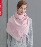 上海故事 羊绒围巾女士披肩秋冬季新款水波纹长款加厚保暖小披肩欧美百搭纯色 SIS1710-C05001