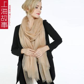 上海故事 超薄款戒指绒 纯山羊绒围巾长款大尺寸披肩秋冬季两用女 纯色空调房围脖SIS1710-4154