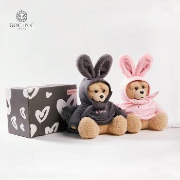 GOC IN C联名DUEPLAY兔子熊热水袋毛绒防爆充电可爱暖宝宝电暖手宝(灰色)