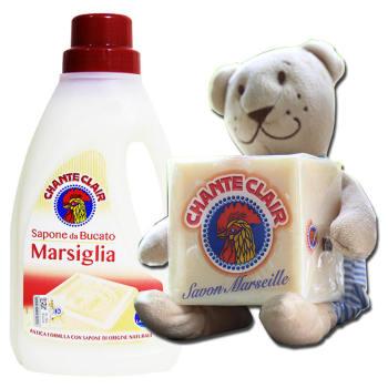 意大利进口公鸡头管家 马赛味洗衣液1L+公鸡头管家 马赛洗衣皂300G