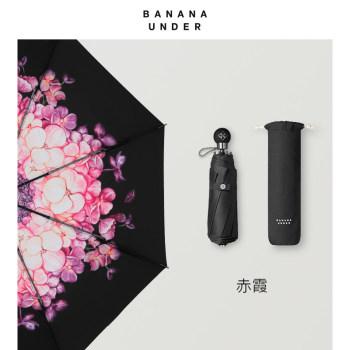 冠夏防晒防紫外线小黑伞折叠晴雨伞女-赤霞