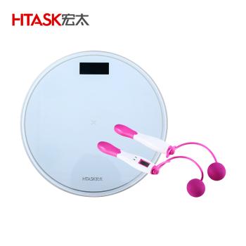 宏太HTASK 液晶背光电子秤带温度显示+智能无绳跳绳 HT-01CRS-1ES
