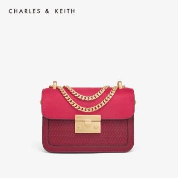 CHARLES&KEITH 单肩编织格纹饰女士链条小方包