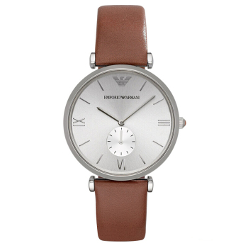 阿玛尼手表皮制表带时尚休闲简约石英男性腕表