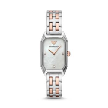 阿玛尼(Emporio Armani)手表时尚贝母镶钻女士手表石英方盘女表 AR11146