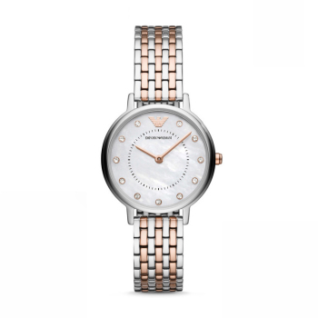 阿玛尼(Emporio Armani)时尚钢带镶钻气质石英女士腕表 AR11094