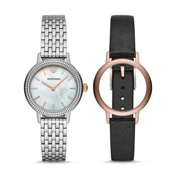 阿玛尼(Emporio Armani)新款可替换表带礼盒套装腕表商务休闲百搭时尚款女表 AR80020