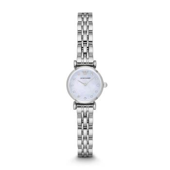 阿玛尼(Emporio Armani) 手表 时尚镶钻小表盘石英钢带女表AR1961