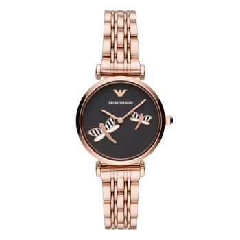 阿玛尼(Emporio Armani) 手表 简约时尚蜻蜓图案表盘钢带女士石英腕表AR11206