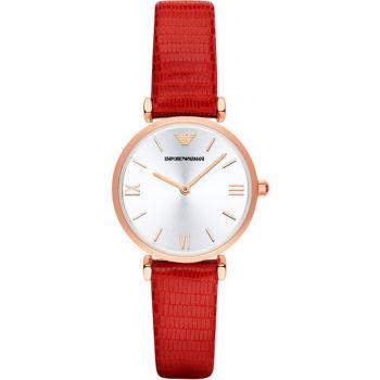 阿玛尼(Emporio Armani)手表 中国红皮质表带休闲女士手表石英表时尚女表AR1876