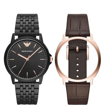 阿玛尼(Emporio Armani)新款可替换表带礼盒套装腕表商务休闲百搭时尚款男表 AR80021