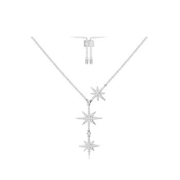 APM Monaco银镶晶钻轻奢双流星项链女六芒星锁骨链