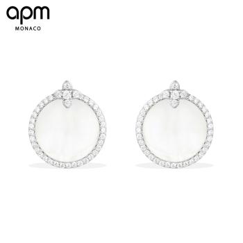 APM Monaco母贝耳环耳钉女 气质耳坠个性银饰品
