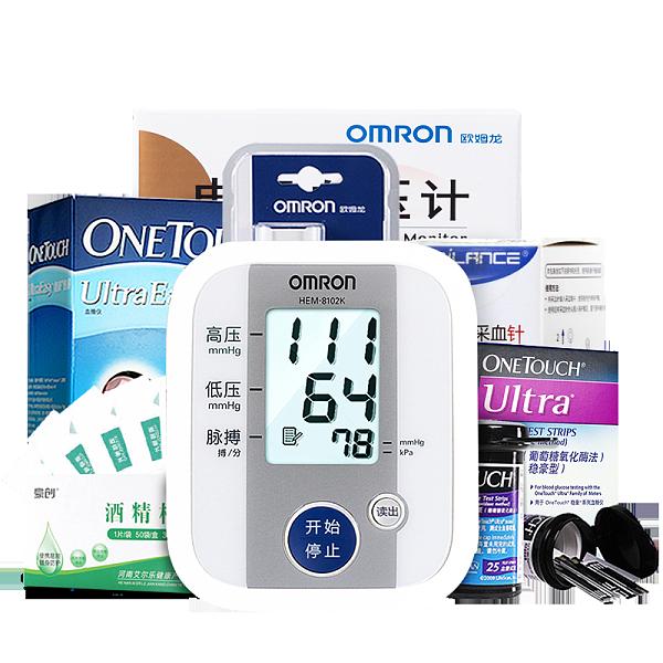 【健康包】血糖血压套餐 强生稳豪血糖仪 血糖试纸 欧姆龙血压计 体温计