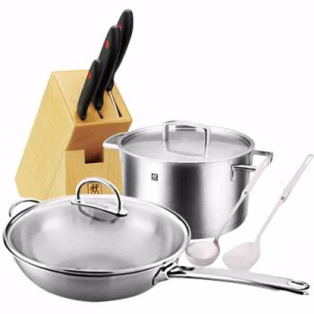 雙立人ZWILLING中式炒鍋8件套組 不銹鋼鍋具刀具