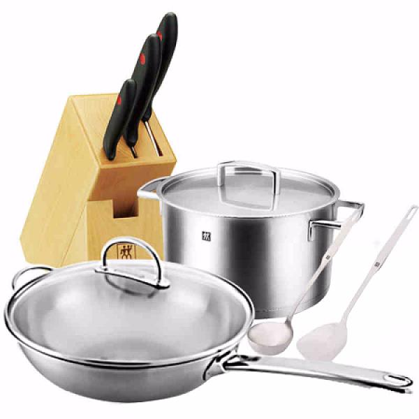 双立人ZWILLING中式炒锅8件套组 不锈钢锅具刀具