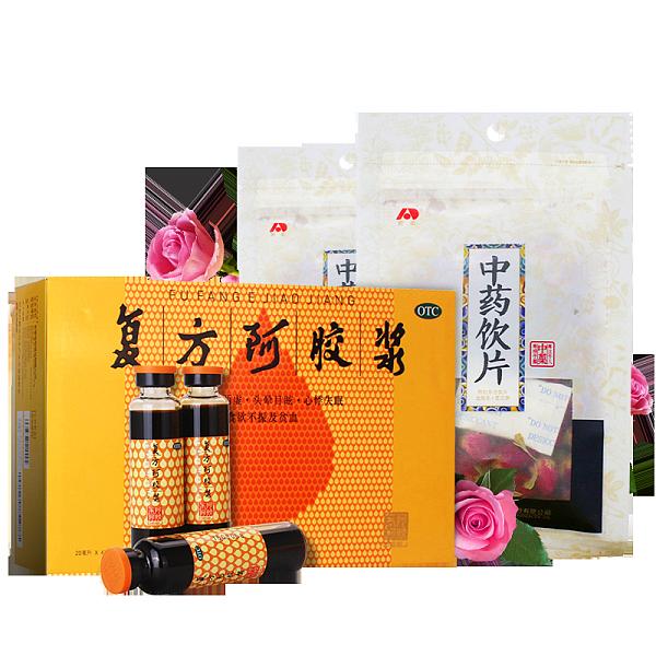 套餐】东阿阿胶复方阿胶浆*1盒+敖东玫瑰花茶*2袋