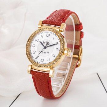 蔻驰COACH玻璃镜面石英手表 石英机芯/不锈钢表壳/14502400红色