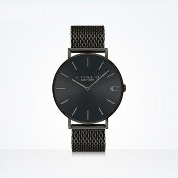 蔻驰COACH CHARLES系列米兰编织钢带石英手表14602148黑色