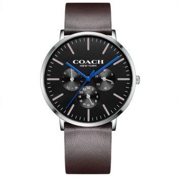 蔻驰COACH CHARLES系列潮流时尚经典石英真皮表带男款手表14602392褐色