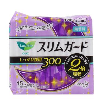 KAO花王乐而雅瞬吸超薄夜用卫生巾30cm*15片*4包