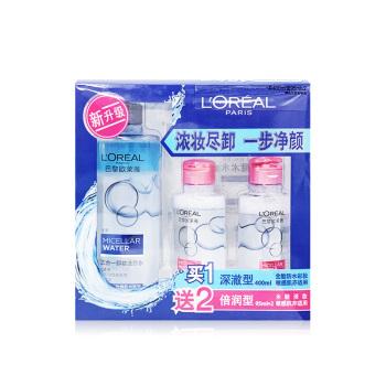 欧莱雅三合一卸妆洁颜水深澈型400ml+倍润型95ml*2 效期至2022.3